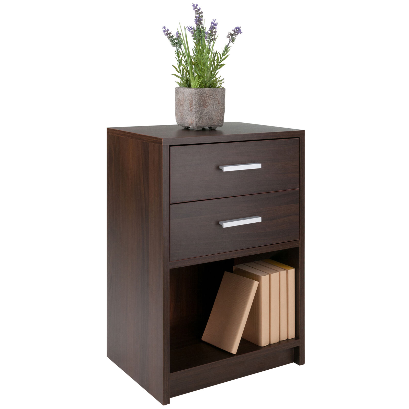 Modern 2-Drawer Nightstand w/ Cubby Storage Shelf Bedside Table Lamp Stand Brown