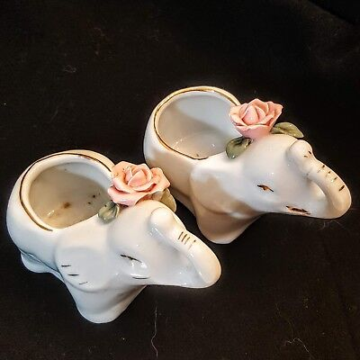 White Porcelain Elephant Mini Planter LOT of 2 Mommy Pot Vases with Pink Flowers](Mini Flower Pots Bulk)