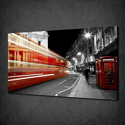 LONDON PHONE BUS STREET LIGHTS CANVAS PRINT PICTURE READY TO HANG - London Street Lights