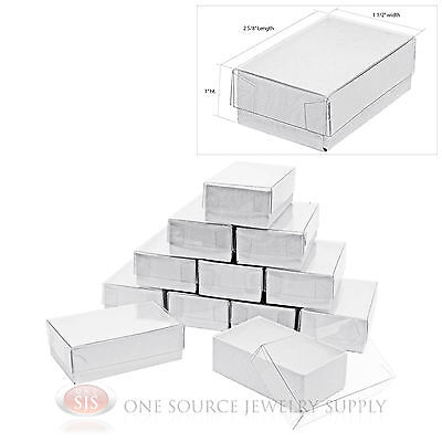 12 White Clear View Vu Top Cotton Filled Jewelry Gift Boxes 2 58 X 1 12