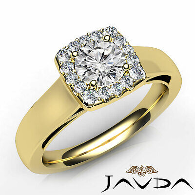 Filigree Halo Prong Setting Round Diamond Engagement Gold Ring GIA F VS2 0.91Ct