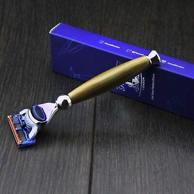 5 Blade Cartridge Shaving Razor In Horn Handle Best Gift 4