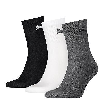3 Pairs Puma Unisex Cotton Rich Short Crew Sports Socks