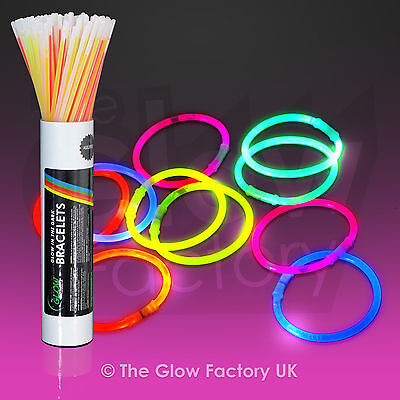 "Glow Sticks Glow Bracelets 8"" Glowsticks Neon UV - FREE P&P"