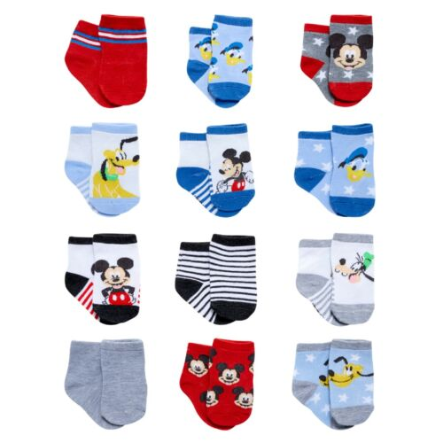 Disney Baby Boys Mickey Mouse Assorted Color Design 12Pair Socks Age 0-24 Months
