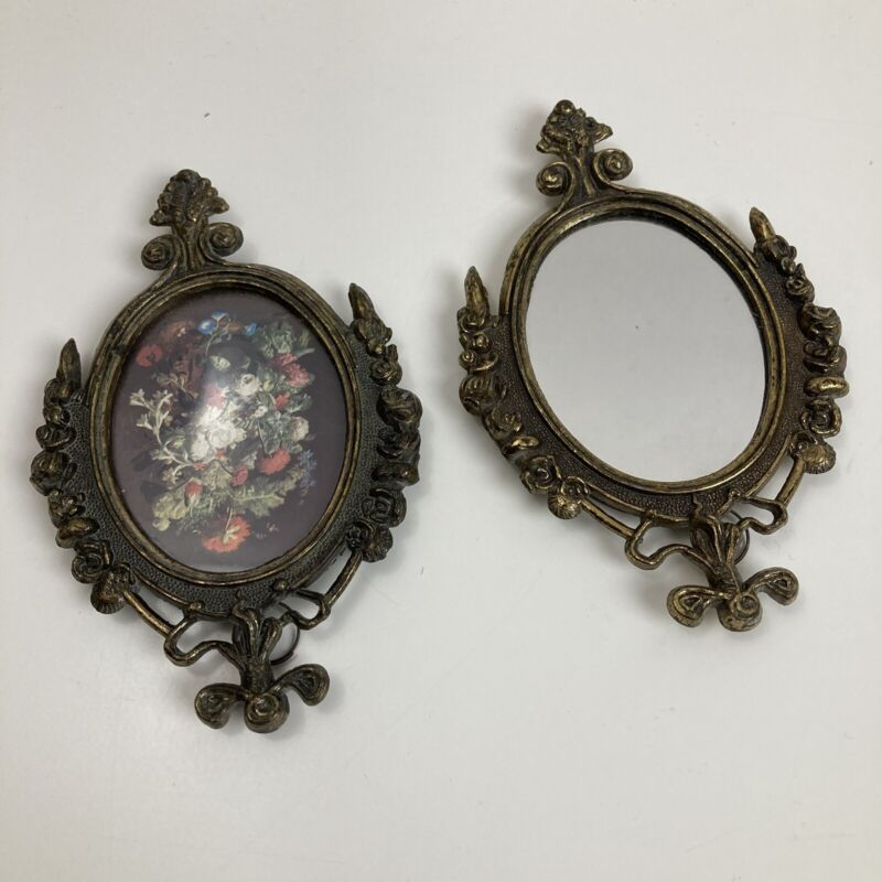 Vintage Ornate Victorian Brass Framed Floral Print Oval Mirror Wall Mountable
