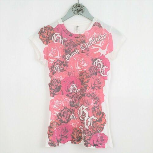 GOOD CHARLOTTE sz Small Pink Rose T-shirt Pop Punk Alt Rock Baby Doll Tee Junior