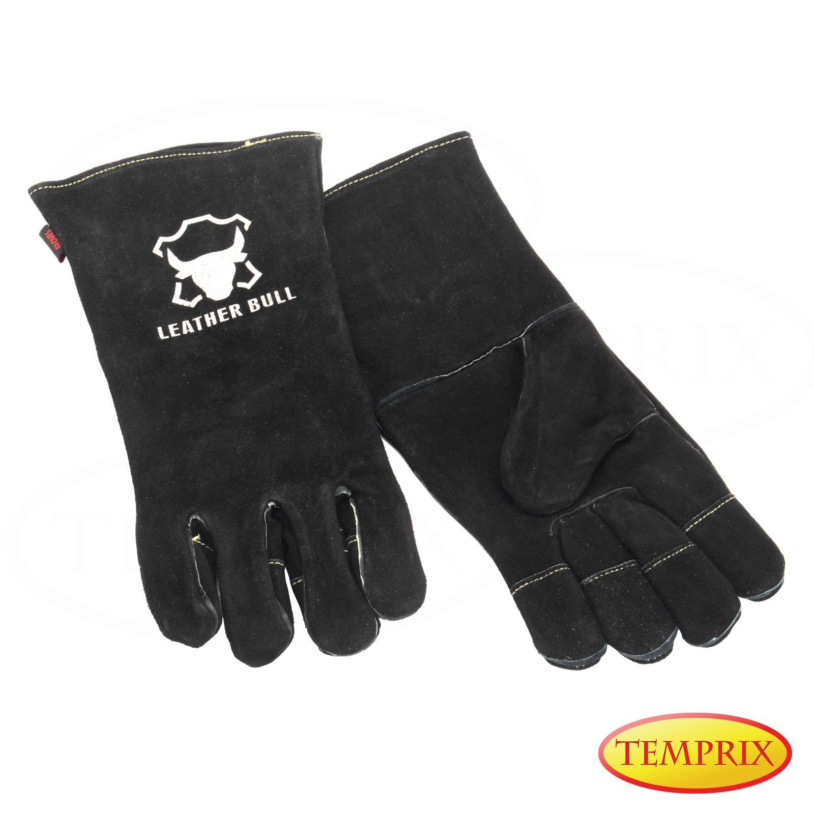 Temprix Kamin, Ofen & Grill Handschuhe | Echtleder | BBQ & Backofen | Schwarz XL