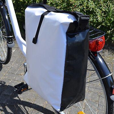 Fahrradtasche LKW Plane Wasserdicht Gepäckträgertasche Fahrrad Gepäcktasche weiß