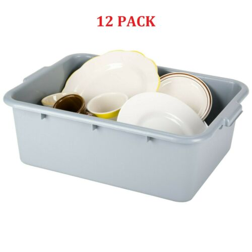 "12 Pack 20"" x 15"" x 7"" Gray Storage Plastic Food Bus Dish Tub Restaurant Box CPS"