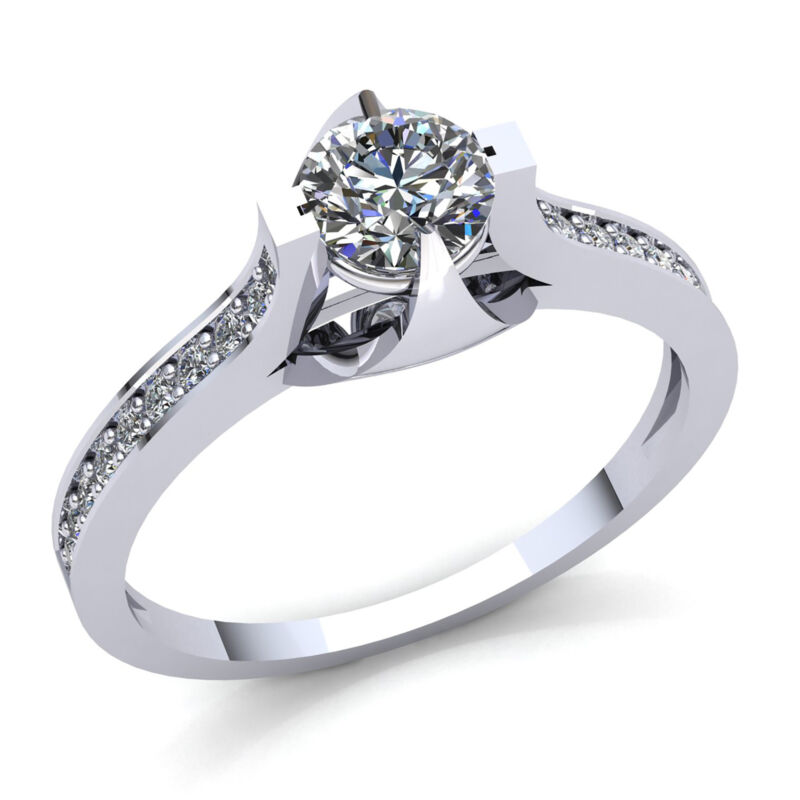 Natural 3carat Round Diamond Ladies Accent Solitaire Engagement Ring 14k Gold