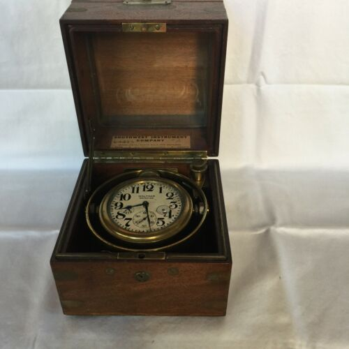 Antique Waltham Chronometer in Gimbaled Mahogany Box - Plus Extra for Parts