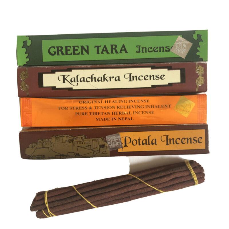 4 Tibetan Hand Rolled GREEN TARA MEDITATION KALA CHAKRA POTALA INCENSE Stick 19p