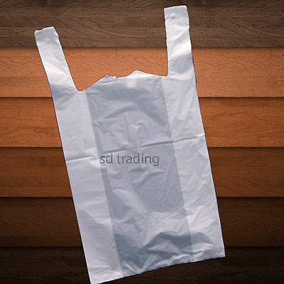 200 White Plastic Vest Carrier Bags Take Away Supermarket Style Medium 10x15x18