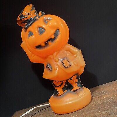 Vintage Blow Mold Halloween Plastic Lighted Pumpkin Empire 1969 Hobo Scarecrow
