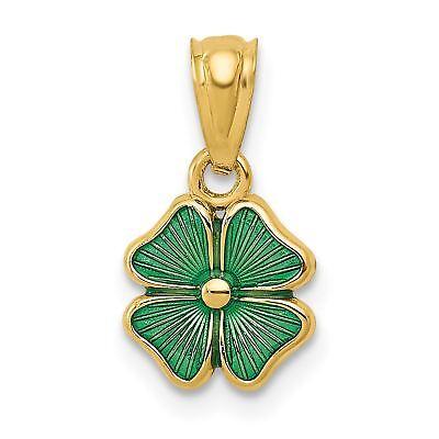 14k Yellow Gold Green Enameled Four Leaf Clover Charm Pendant YC483VJ7263 14k Enameled Clover Charm