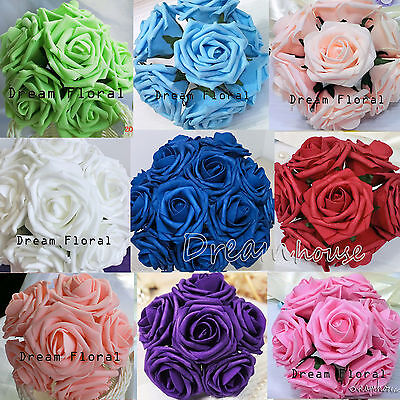 """3"""" Real Touch Foam Rose Wedding Bouquet Artificial Flower Home Party Decor Craft"""