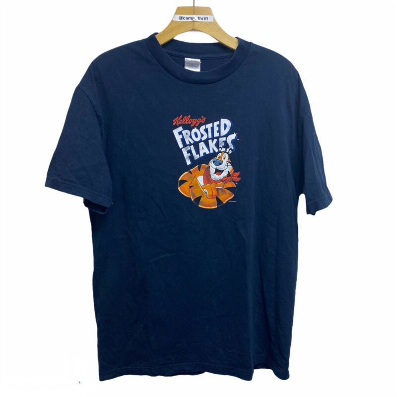 vintage kelloggs frosted flakers tony tiger graphic t shirt promo navy sz large