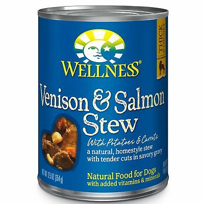 Wellness Thick  Chunky Natural Wet Canned Dog Food, Venison  Salmon Stew,