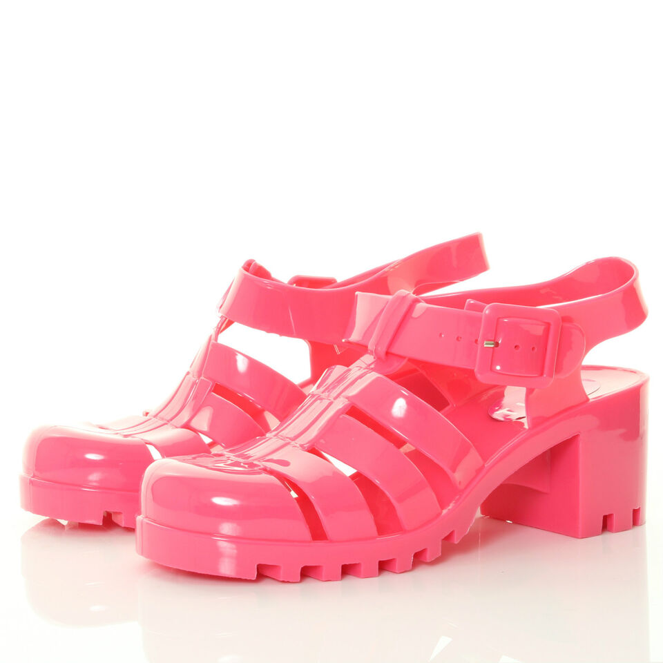 SANDALS GIRLS WOMENS FLAT HEELS PINK 90S JELLY BUCKLE SANDALS FLIP FLOPS SHOES