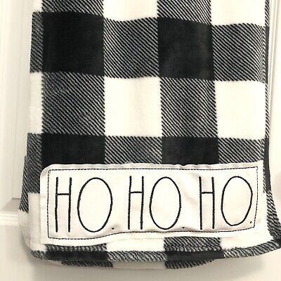 Rae Dunn Ho Ho Ho LL Plaid Black White Sherpa Throw Plush Blanket 50 x 70 New
