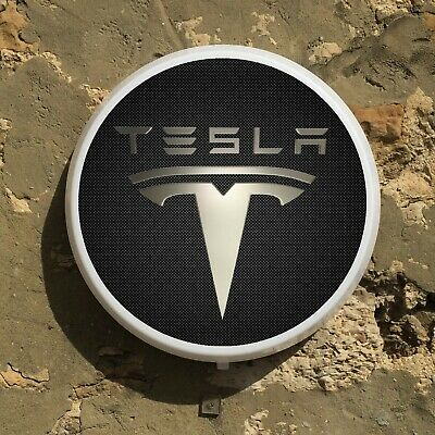 Tesla Badge Led Wall Light Sign Logo Garage Automobilia Electric Car Roadster