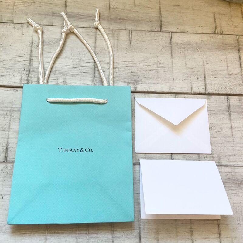 "TIFFANY & CO (1) Single Paper Gift Bag 5x6"" Light Blue w/White Card & Envelope"