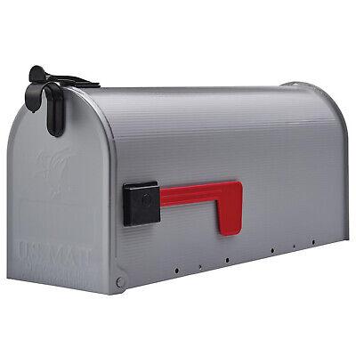 POST-MOUNT MAILBOX Galvanized Steel Medium Rural Curbside Mail Storage Box Grey