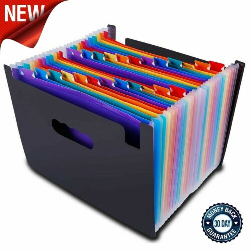 File Organizer Accordion File Folder 24 Pockets Multi-Color Plastic Stand Bag