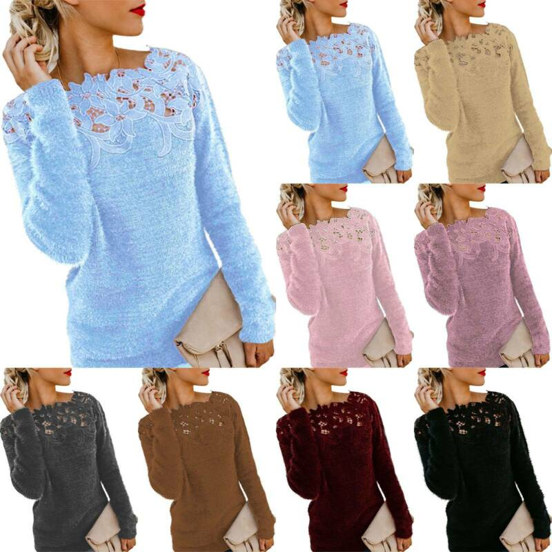 Damen Pullover Pulli Winter Warm Langarm Sweater Sweatshirt Oberteil Longtops DE