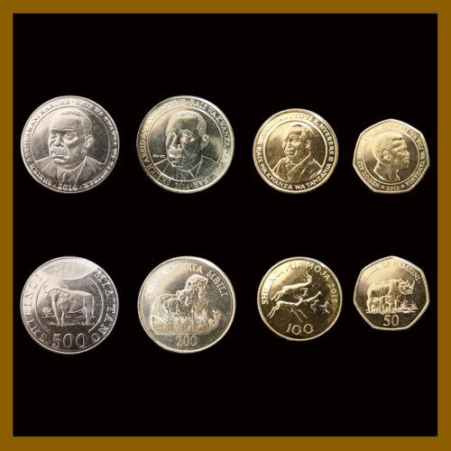 Tanzania 50 - 500 Shillings (Shillingi) (4 Pcs Coin Set), 2014-2015 Lion Rhino