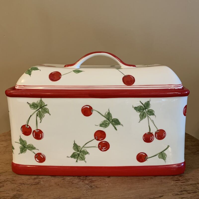 Target Home Ceramic Cherry Bread Box MCM 1950s Retro EUC