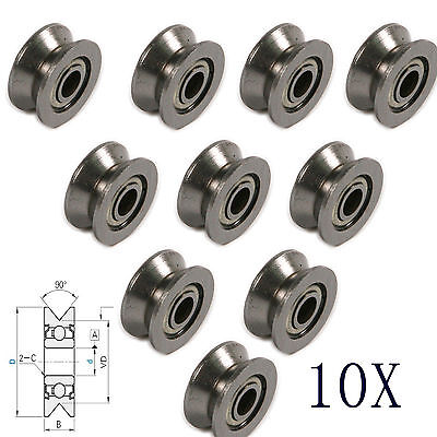 10pcs V-groved Wire Guide Pulley Wheel 4mm High Carbon Steel Cable Ball Bearing