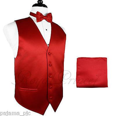 Men's Formal Tuxedo Suit Dress Vest Waistcoat & Butterfly Bowtie & Hanky Set - Red Tuxedo Vest Set