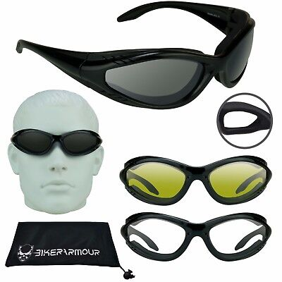 WRAP MOTORCYCLE SUNGLASSES Wind Proof Goggles Foam Cushion Sky Diving (Proofs Sunglasses)