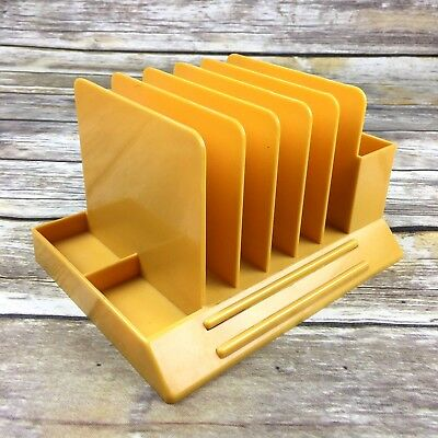 Max Klein Desk Organizer Letter Pencil Holder Yellow Harvest Gold Vintage