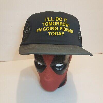 Vintage 80s Mesh Foam Trucker Hat Snapback Cap Funny Fishing Hat