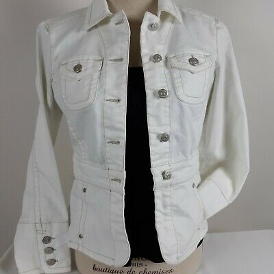 CAbi White Denim Jean #249 Jacket Button Spring Summer Fitted Womens XSmall -