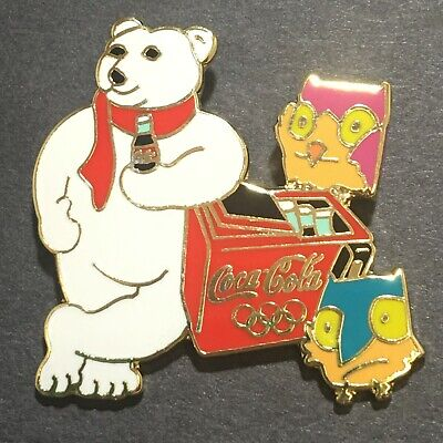 Vtg 1998 Winter Olympics Nagano Japan Bear Snowlets Coca-Cola Enamel Tack Pin