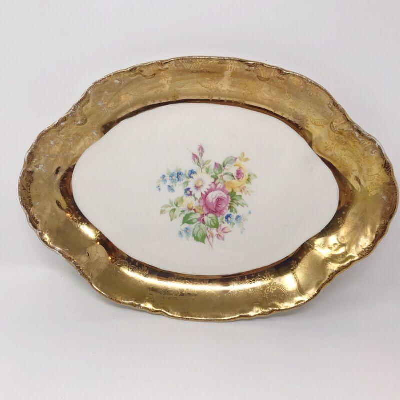Vtg W S George Radisson Scalloped Serving Platter Warranted 22 Carat Gold Roses