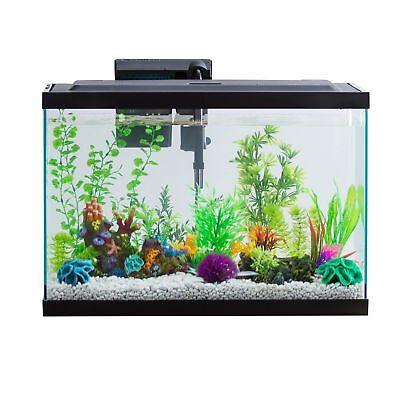 29 Gallon Aquarium Kit Set Fish Tank Led Light Hood Filter Clear Fresh Water New