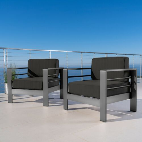 Crested Bay Outdoor Gray Aluminum Club Chairs with Water Resistant Cushions Home & Garden