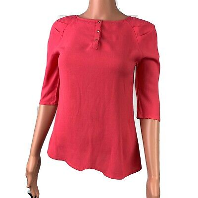 ZARA WOMAN Small Henley Blouse Womens Pink Half Sleeve Round Neck Business