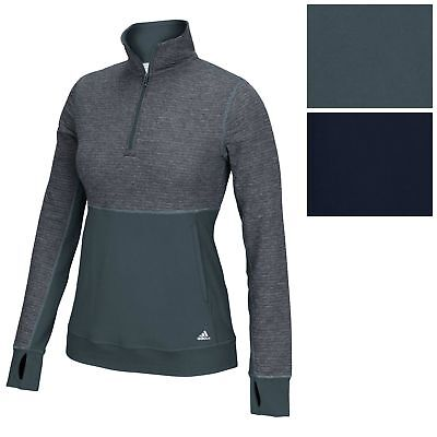 Adidas Womens Climalite Twist 1 2 Zip Pullover Tee Athletic Run Fitness Jacket