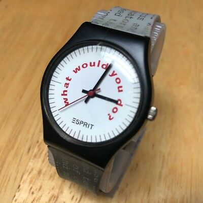 Vintage ESPRIT What Would You Do? Men Lady  Analog Quartz Watch Hour~New Battery