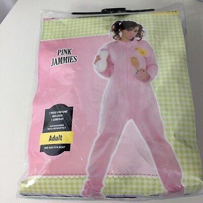 Adult Baby Halloween Pajama Pink One Piece Footies Bottle Pacifier Bid Bonnet (Adult Baby Halloween Kostüme)