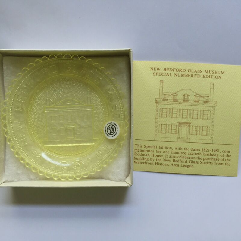 New Bedford Rotch Rodman House Glass Museum Yellow Vaseline Pairpoint Cup Plate