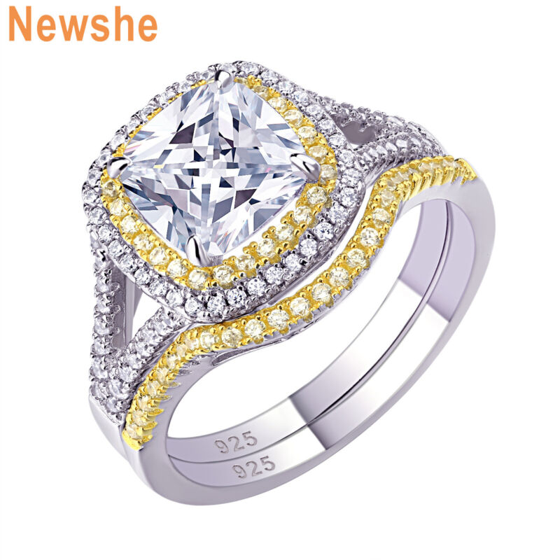 Newshe Wedding Engagement Ring Set For Women Sterling Silver Yellow Gold Aaaa Cz