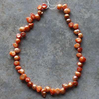 "Natural Freshwater Pearl Orange Baroque Loose Beads 15"" strand"
