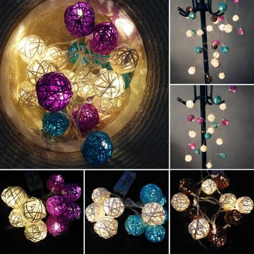 Rattan Wicker Ball Battery Fairy String Lights Christmas Xma